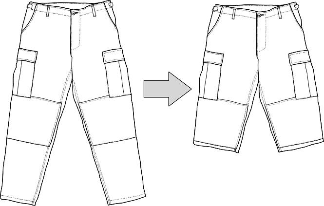 Ompelutyö, muokkaus, pitkät housut shortseiksi