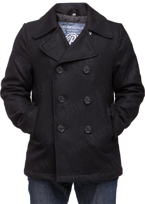 Tuotetiedot Laadukkaasta villasta ja viskoosista valmistettu perinteinen kansitakki Branditin pilttuusta mustan värisenä on tässä. Takin muotoilu ja ulkonäkö perustuu klassiseen US Navy -tyyliin ja tarjoilee ajatonta pukeutumista sekä lämpöä viileämmille keleille.