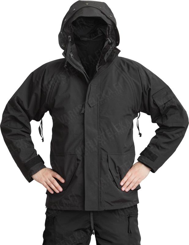 Mil-Tec ECWCS-takki irroitettavalla fleece-vuorilla, musta