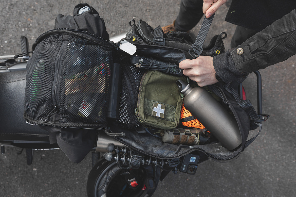 CP15 Combat Pack on a motorcycle