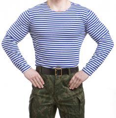 Russian Telnyashka, long sleeve, light blue striped