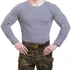 Russian Telnyashka, long sleeve, dark blue striped