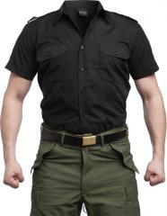 Mil-Tec collared shirt, short sleeve, musta