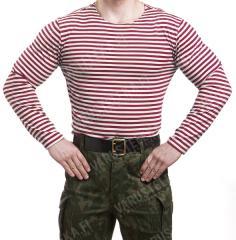 Russian Telnyashka, long sleeve, red striped