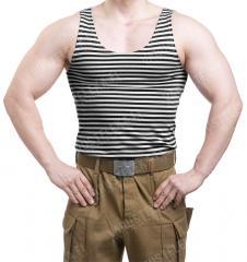 Russian Telnyashka, sleeveless, black striped