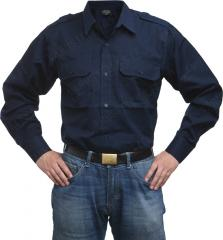 Mil-Tec collared shirt, long sleeve, navy blue