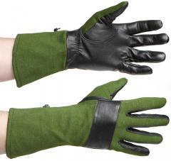 Särmä combat gloves, leather/Nomex, green/black