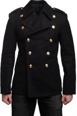 Soviet navy wool coat, black, surplus