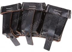 Wehrmacht Kar98K stripper clip pouch, black leather, reproduction