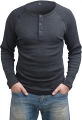 Särmä Classic Henley Shirt, merino wool, dark grey