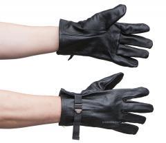 Belgian leather gloves, black, surplus