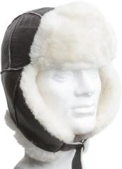 USAF leather fur hat B3, brown, repro
