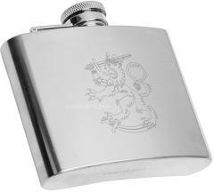 Hip flask, lion engraved, 5 oz