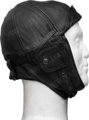 Mil-Tec leather flying cap, black