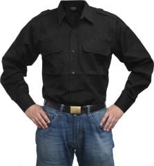 Mil-Tec collared shirt, long sleeve, black