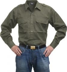 Mil-Tec collared shirt, long sleeve, olive