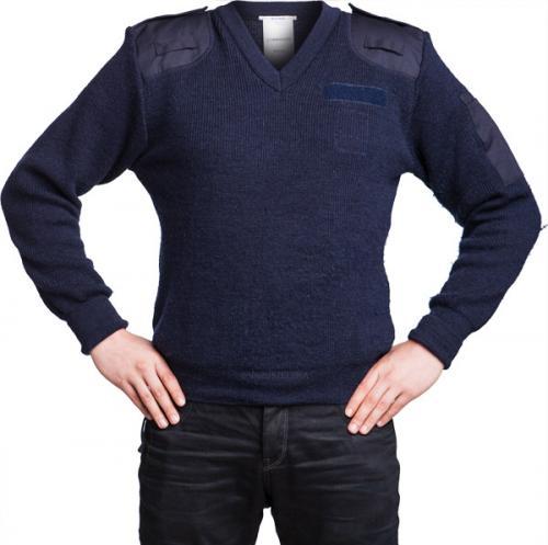 Brittiläinen villapaita, sininen, V-aukko, miesten, ylijäämä