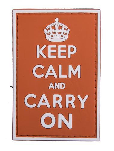 Keep Calm and Carry On PVC-moraalimerkki